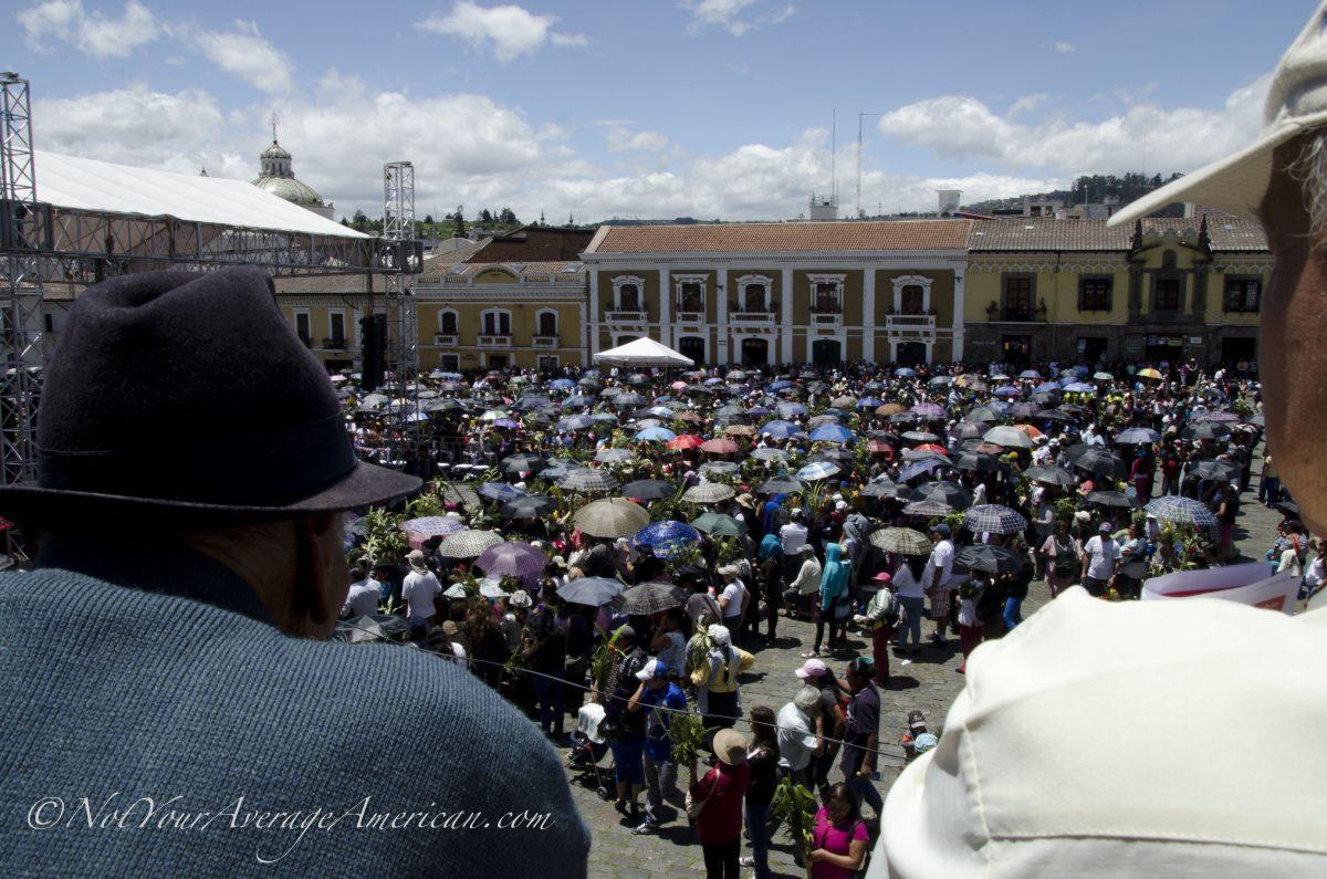 Palm Sunday Crowd, Plaza San Francisco, Quito, Ecuador | ©Angela Drake