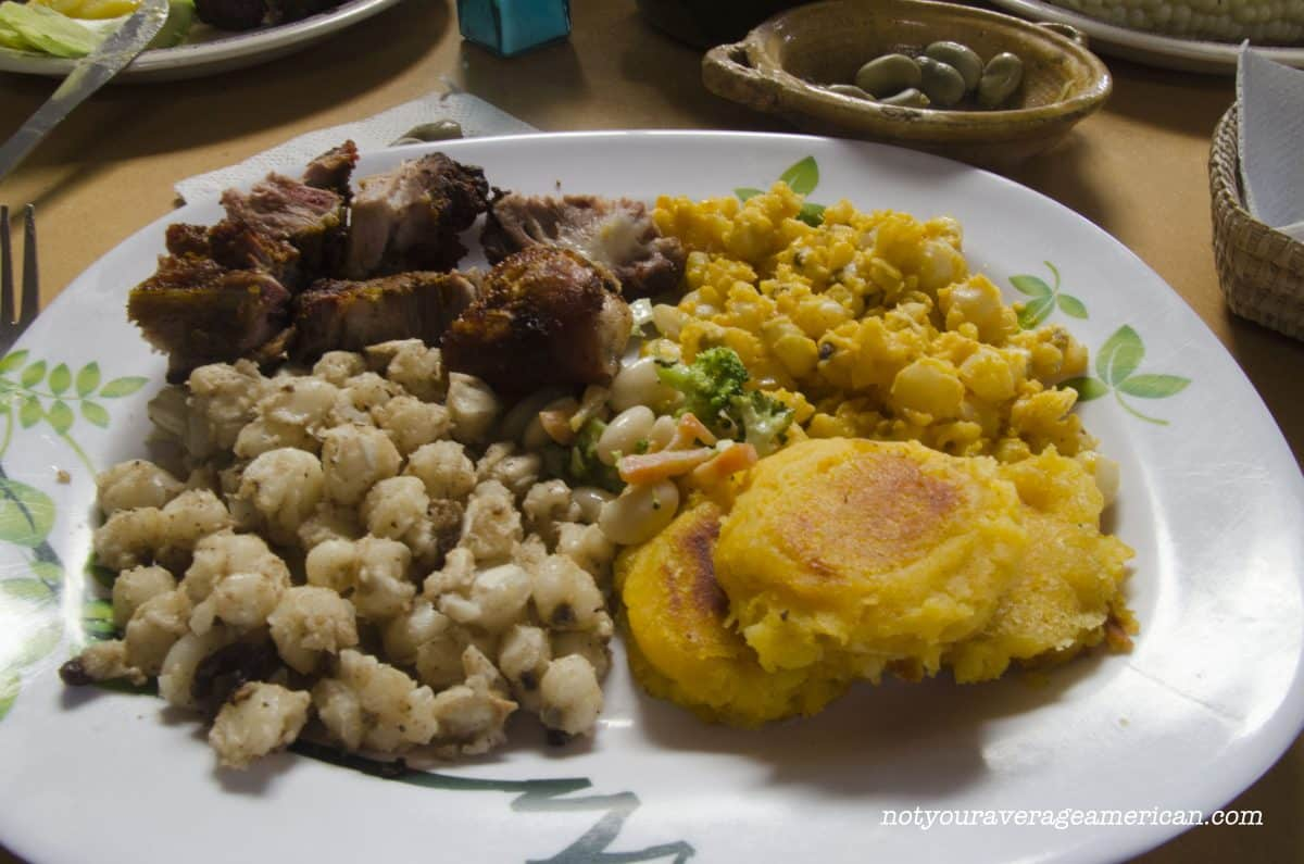 The Chancho came with mote, a hominy-like corn, cooked in two different styles, Mote Sucio (Dirty Hominy) and Mote Pillo (Naughty Mote) as well as llapingachos (mashed-potato pancakes) and a small salad of broccoli, carrot, and beans.