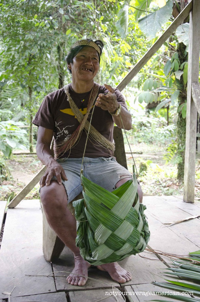 Our Huaorani guide, Bai, taught us how to make a basket that could be used for carrying freshly hunted meat or just harvested plants from the jungle.