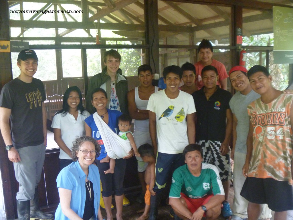 This is a final photo of our stay - myself and sons with the team that helped make us comfortable. Except for us, everyone else in the picture is Huaorani.