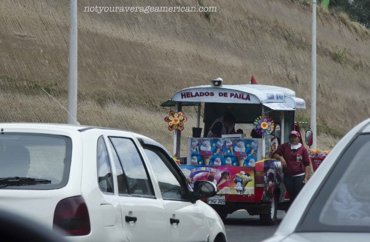 Selling Helado de Paila During a Traffic Jam, Quito to El Quinche | ©Angela Drake