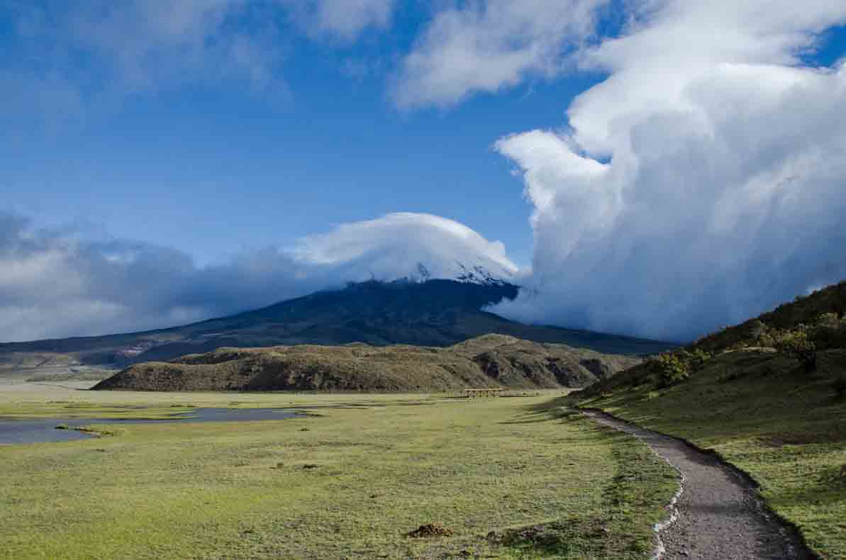 View of Cotopaxi with incoming clouds