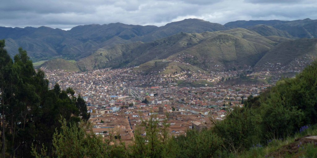 View of Cusco from nearby foothills