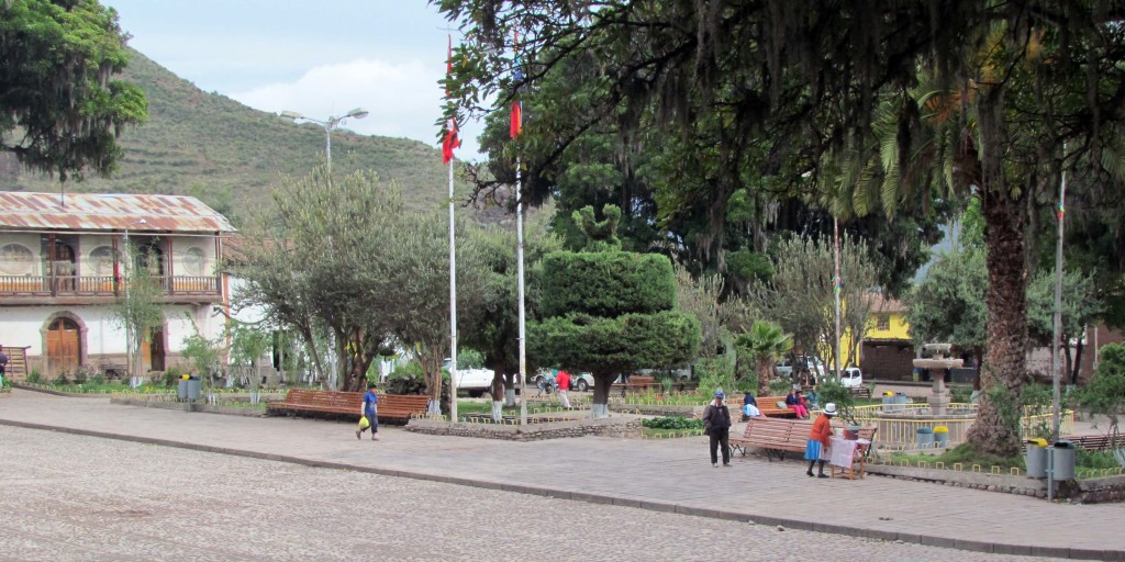 The plaza at Andahuaylillas.