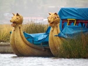 A reed boat stored for the season
