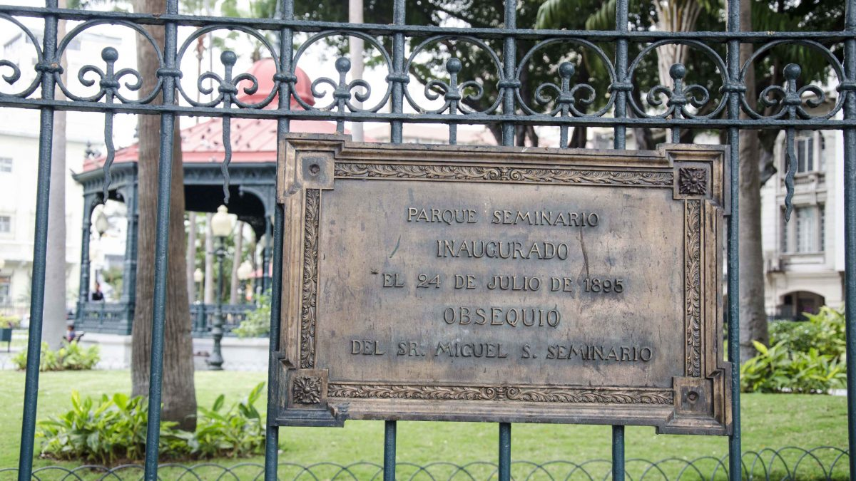 Parque Seminario was dedicated in July, 1895; Guayaquil, Ecuador