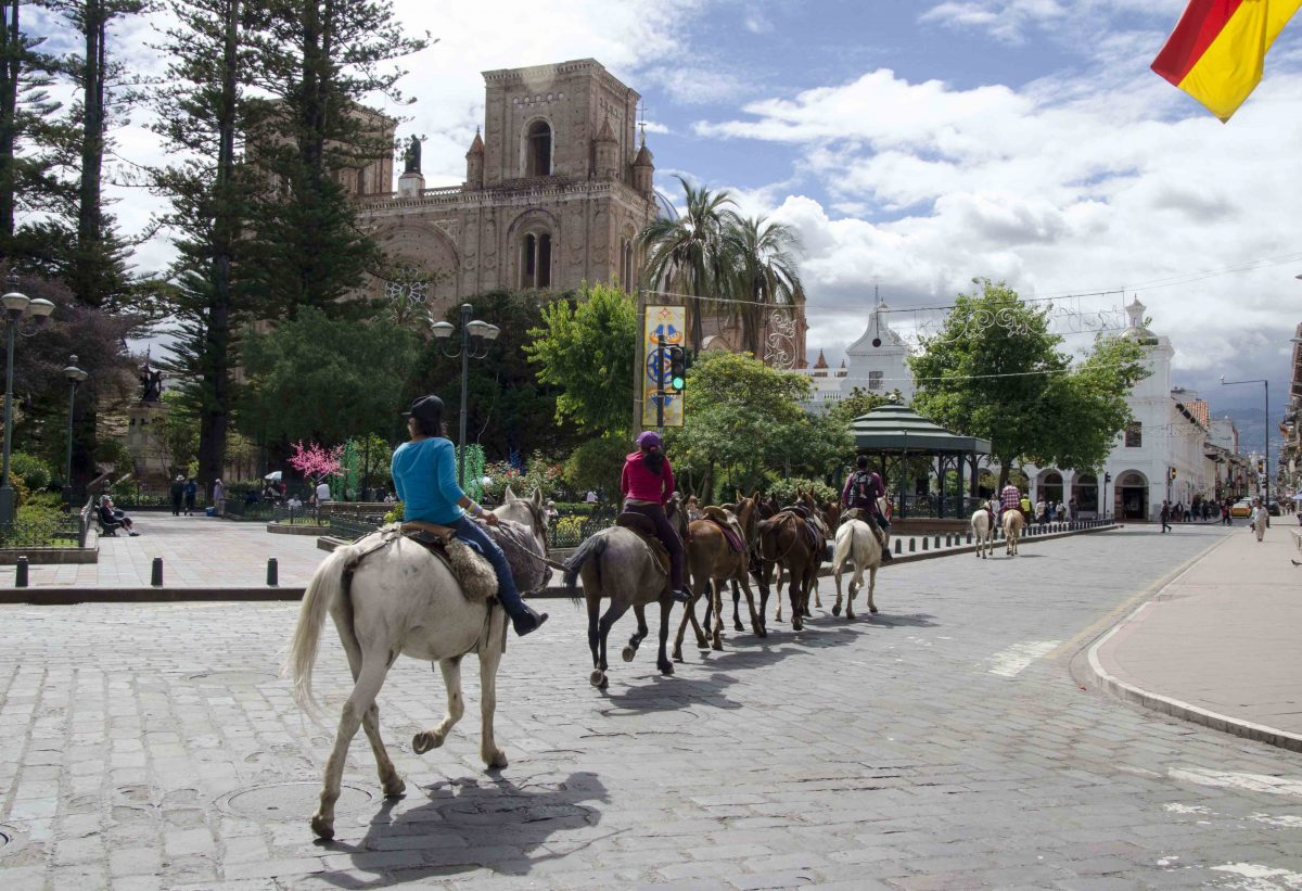 Horses and Riders passing the New Cathedral Plaza; Cuenca, Ecuador