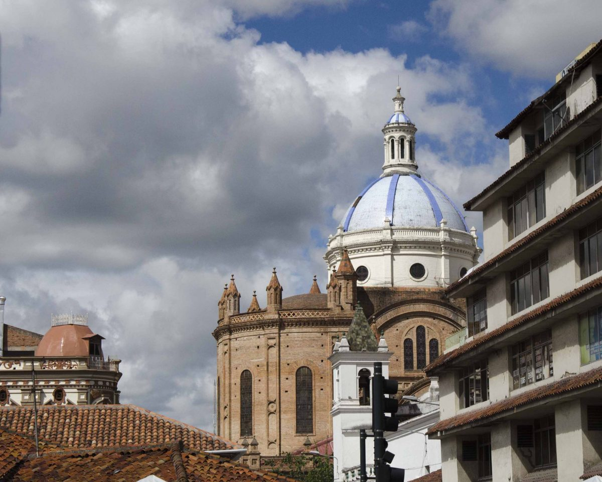 The New Cathedral as seen from Padre Aguirre near Juan Jaramillo, Cuenca, Ecuador