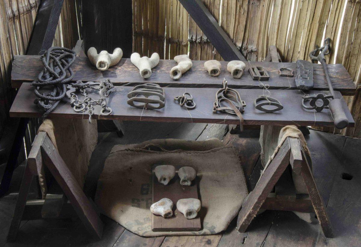 Tools from colonial times, Museo Amantes de Sumpa, Santa Elena, Ecuador