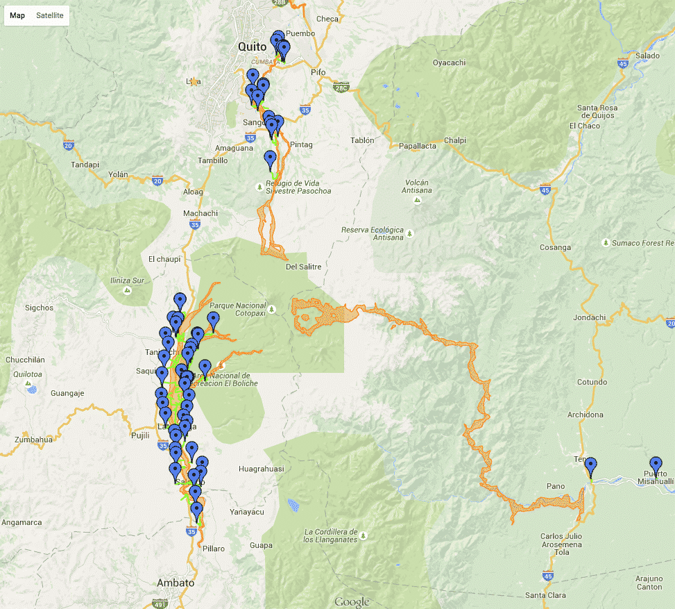 Orange are possible lahar Flows from Cotopaxi; blue markers are safe zones; neon green are evacuation routes.