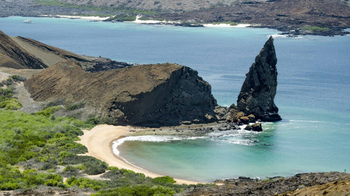Pinnacle Rock as seen from top of Bartolome Island, the Galapagos