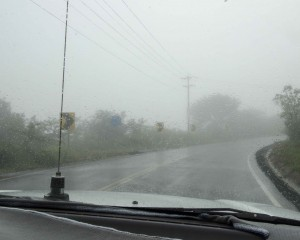 Arriving to El Junco on a Rainy Day
