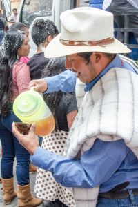 Serving Chicha de Jora, Guamote