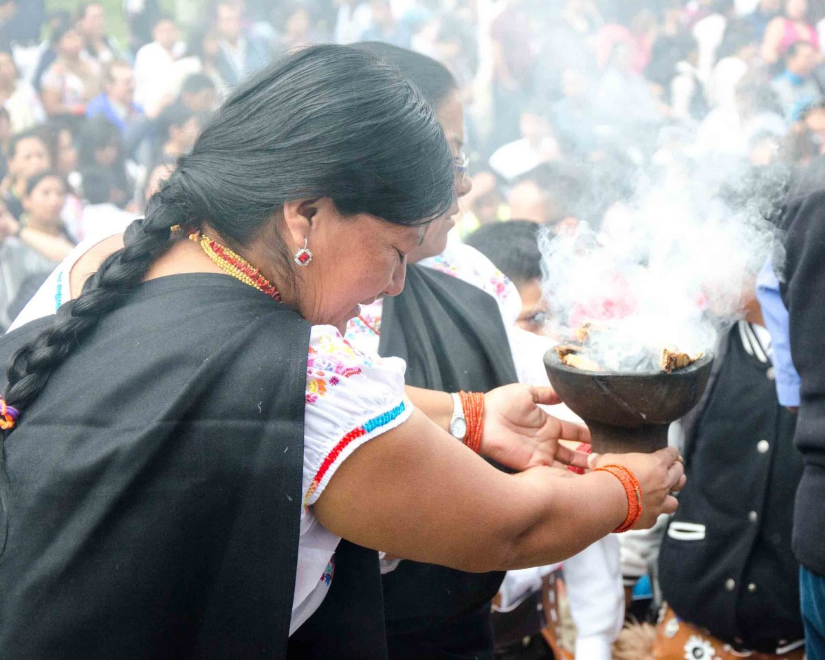 Sacred Cleansing in Smoke, School Children Take of the Plaza, Cotacachi, Ecuador