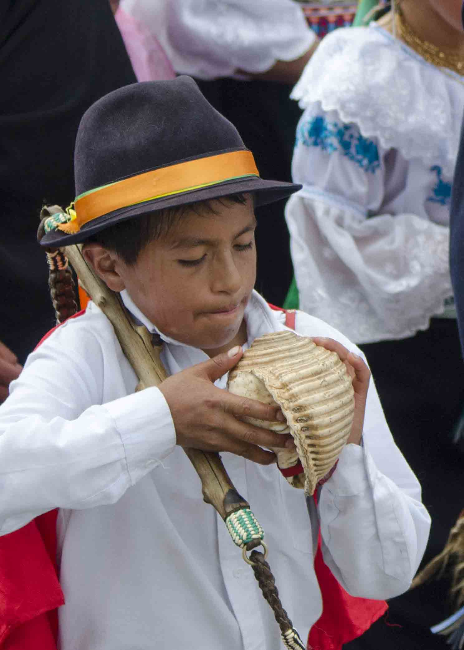 Preparing to Blow the Conch Shell, Inti Raymi, Parade of Schools, Cotachi, Ecuador