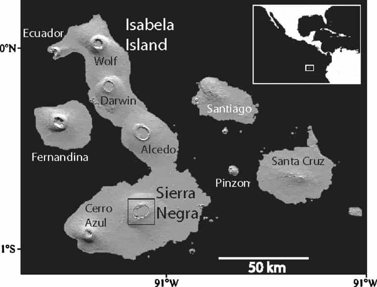 Map highlighting Sierra Negra on Isla Isabela in the Galapagos Archipelago | Instituto Geofíscico de Ecuador | http://www.igepn.edu.ec/