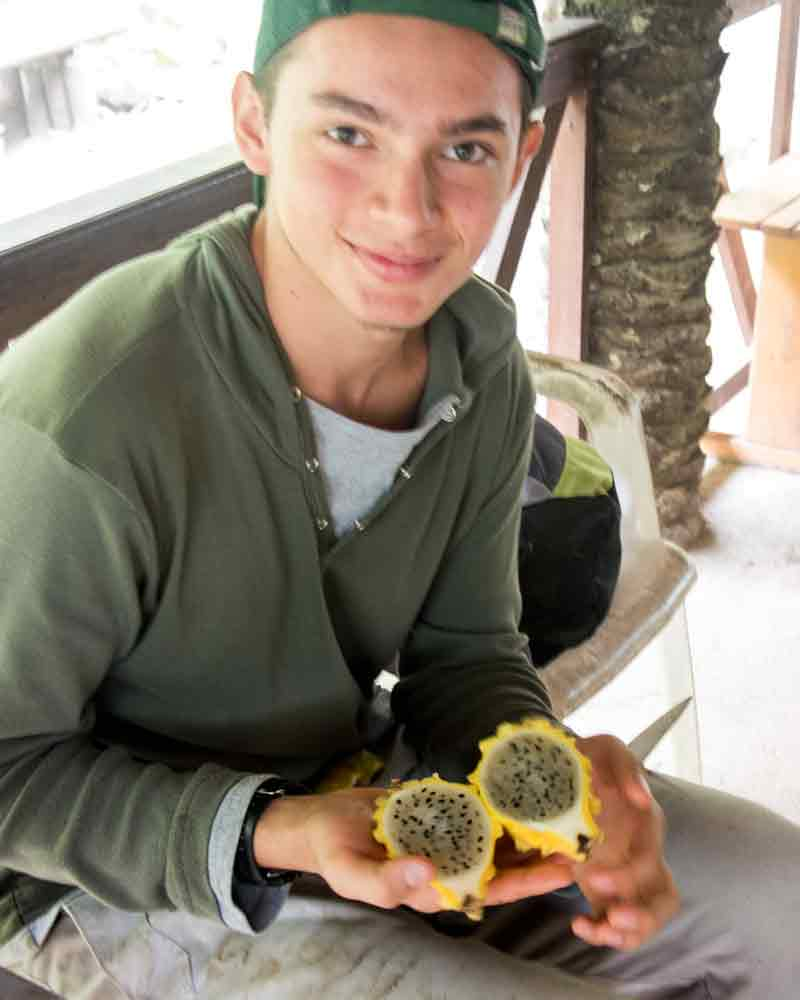 Our guide, Nacho, holding a pitahaya or dragon fruit | @Angela Drake