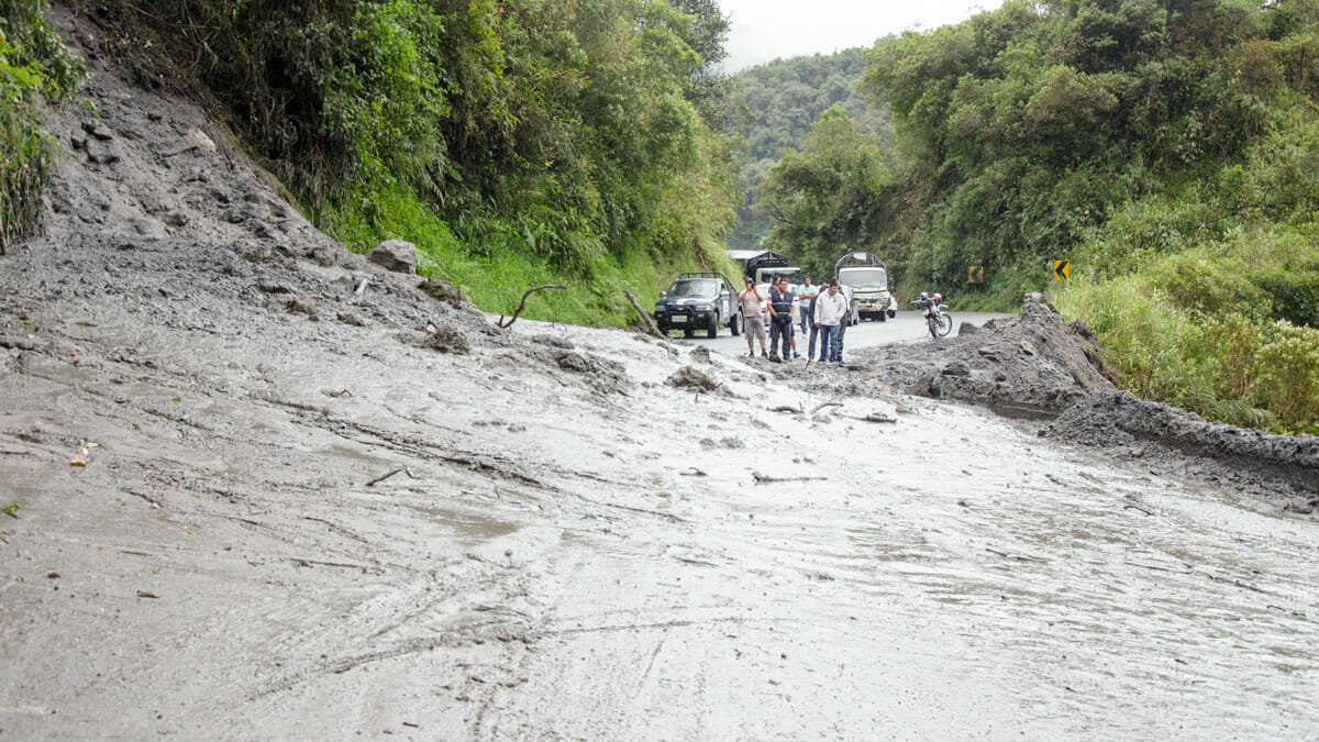 A landslide on the Papallacta-Baeza Road, Ecuador | ©Angela Drake