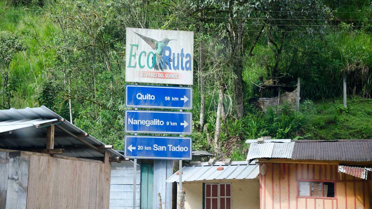 Signs for the Ruta del Colibrí in Tandayapa, Ecuador| ©Angela Drake