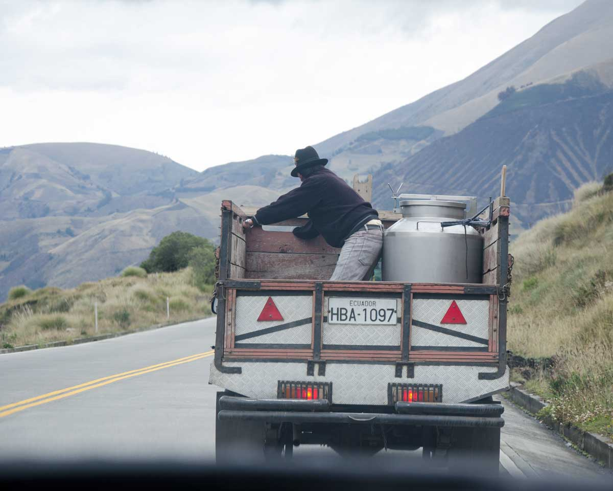 Milk Transport on a major road in Ecuador | ©Angela Drake