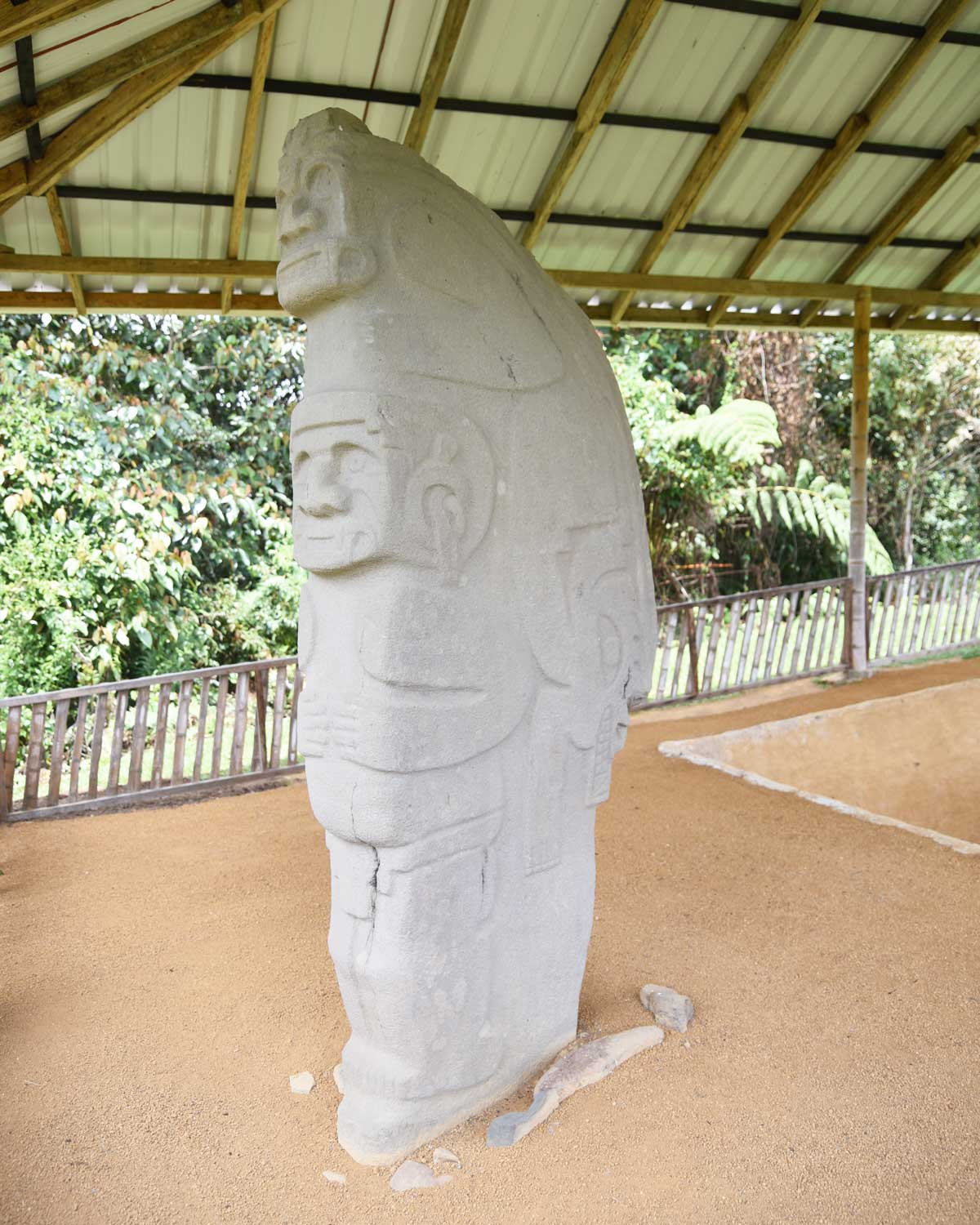 Interesting mix of animal and human characteristics on this statue; Alto de las Piedras, Isnos, Colombia | ©Angela Drake