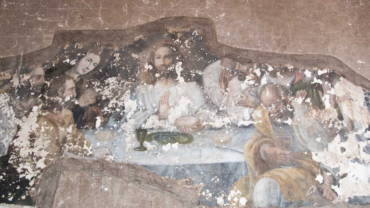 Murals of the Last Supper in the Courtyard, San Diego Convent, Quito | ©Angela Drake