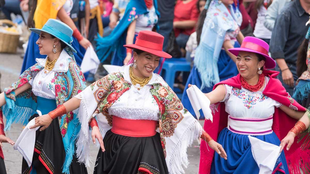 Folk Dancers, Mama Negra, Latacunga, Ecuador | ©Angela Drake