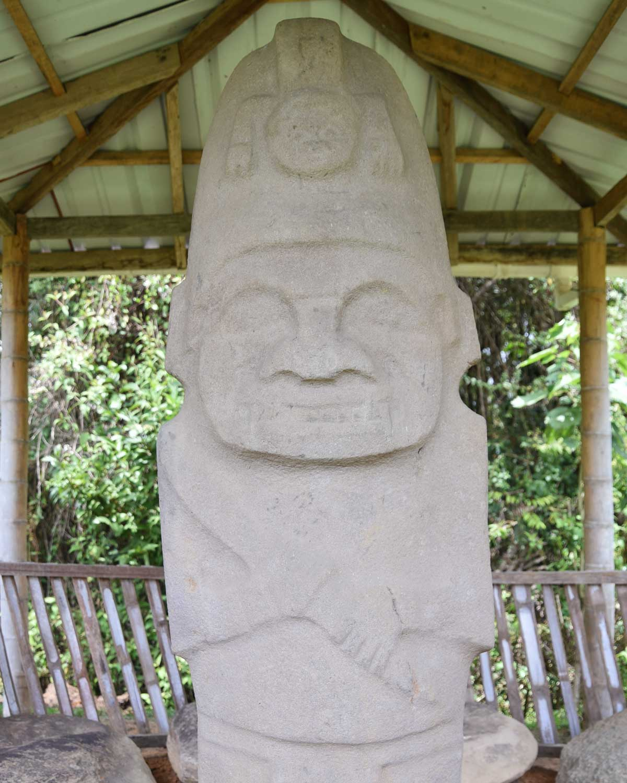Close-up of Helmeted Statue; Alto de los Piedras, Isnos, Colombia | ©Angela Drake
