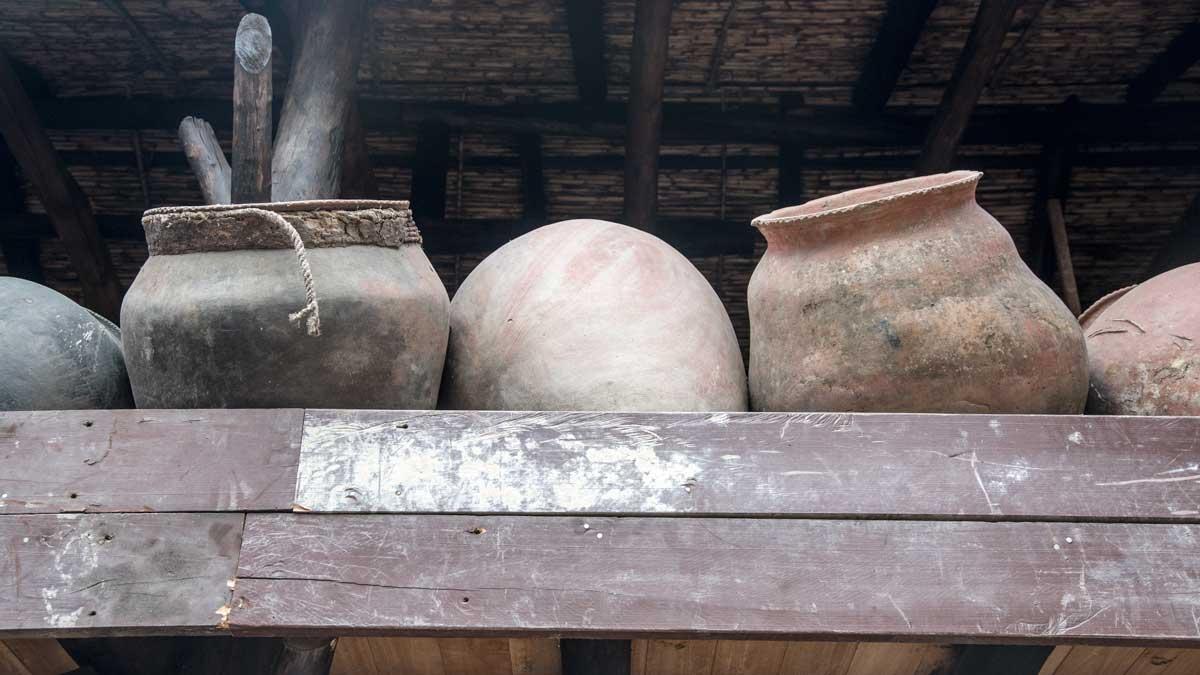 Pottery jars for holding fabric dyes; Casa de la Macana, Gualaceo, Ecuador   ©Angela Drake