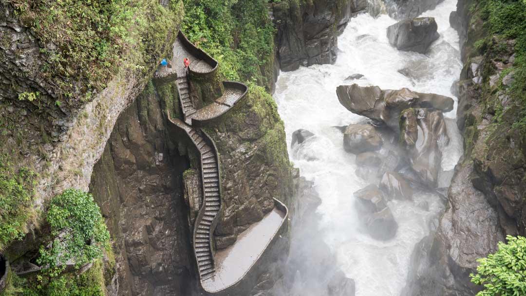 View of the Devil's Cauldron from the Isla del Pailon Trail, Rio Verde, Ecuador   ©Angela Drake