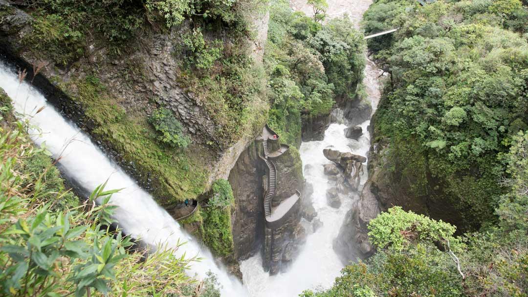View of the Devil's Cauldron from the Isla del Pailon Trail, Rio Verde, Ecuador | ©Angela Drake