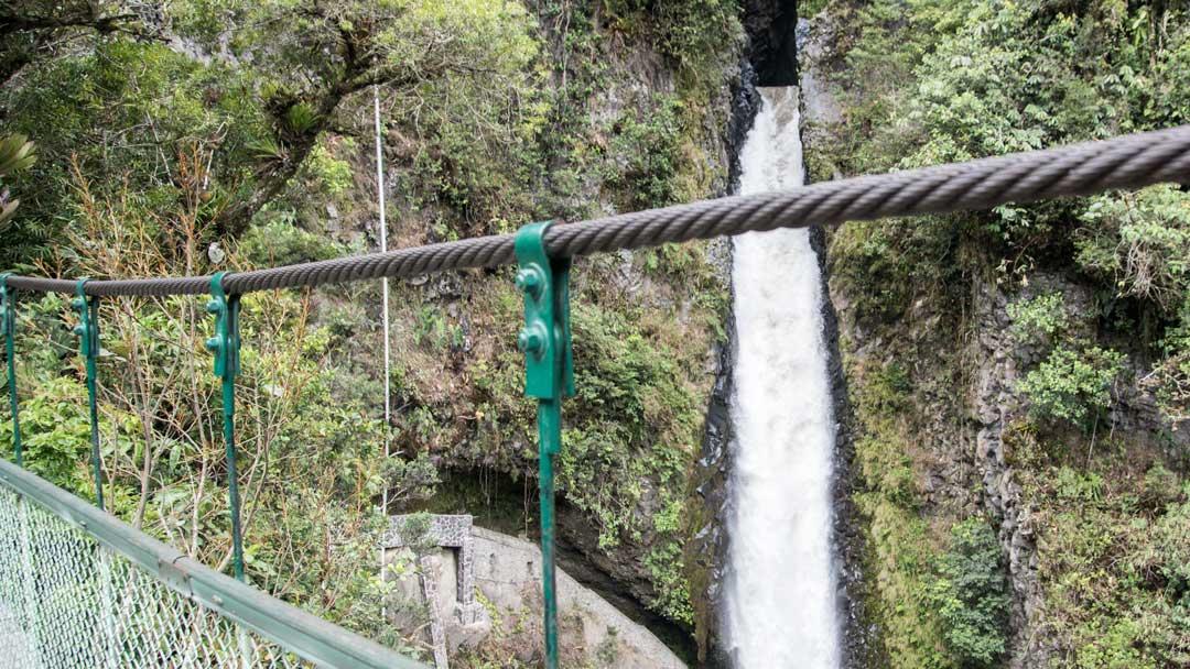 View of Pailon del Diablo from the Pedestrian Bridge, Isla del Pailon, Rio Verde, Ecuador | ©Angela Drake