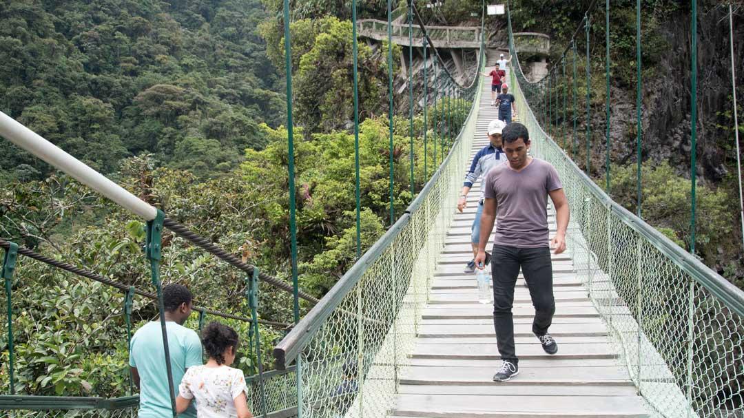 Pedestrian Bridge, Isla del Pailon, Rio Verde, Ecuador | ©Angela Drake